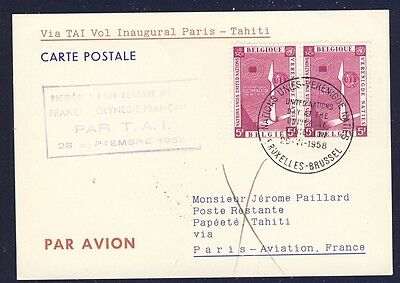 18806) Tai Ff Paris - Papeete Tahiti 28.9.58 Sp.card Feeder Mail Belgien Mef Uno