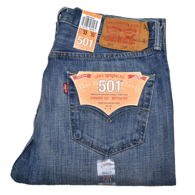 Levis 501 Jeans Button Fly Mens Denim Stonewashed W30 W32 W34 W36 W38