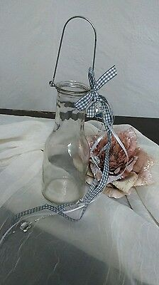 Windlicht Teelicht Dekoration Aufhänger Glas SCHLEIFE GRAU-WEISS