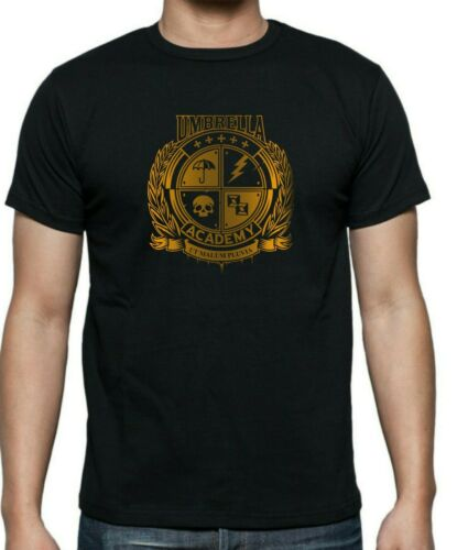 Mens and ladies fitted Netfix UMBRELLA  ACADEMY Inspired ALUMNI CREST T-Shirt