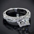 Certified 2.25CT Princess cut Diamond Engagement Ring in 10k White gold