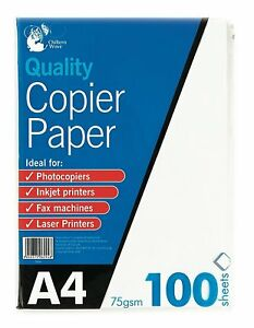 100 Sheets A4 Copier Paper 75gsm  Bright White Printer Copier Office Printing