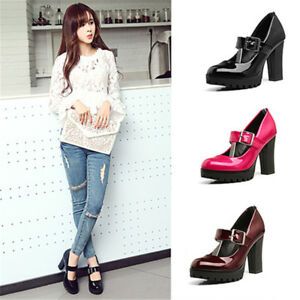 New-Womens-Block-High-Heels-Mary-Jane-Patent-Leather-Buckle-Pumps-Platform-Shoes