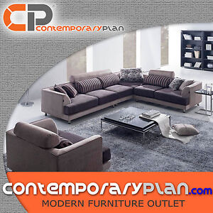 Contemporary Beige Fabric Sectional Sofa Modern Wide Adjustable