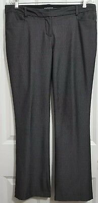 "Dress Pants Gray Herringbone Twill Soft Polyester 35.5"" Just Express Women's 8r"