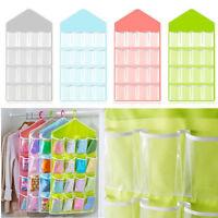 16 Pockets Clear Over Door Hanging Bag Shoe Rack Hanger Storage Organizer Solid