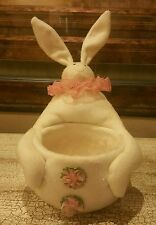 EASTER BUNNY BASKET/BOWL CENTERPIECE W/ MICA DUST EUC