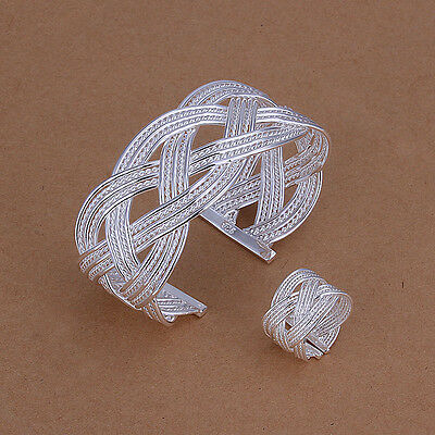 Nice! Sterling Solid Silver Net Bracelet&Ring Set DAS284 + box
