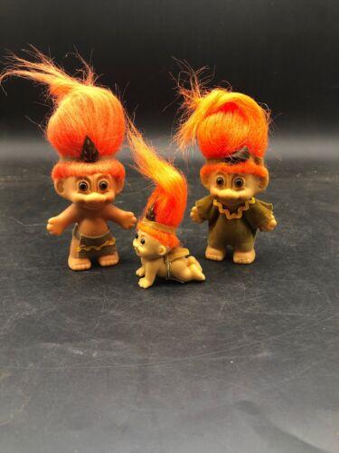 Boy /& Girl /& Baby Indian Vintage Russ Indian Troll Dolls