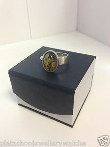 Solid-Silver-Ring-925-Unique-Design-Yellow-Stone-Ladies-Gift-Ring-Size-Q