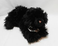 LONG HAIR BLACK CAT STUFFED ANIMAL - AURORA - SATIN BOW COLLAR WITH BELL