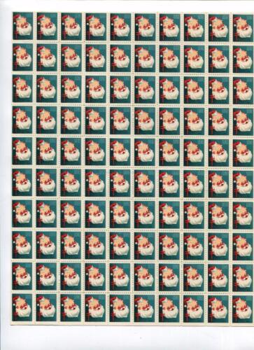 1951 US Christmas Seal Sheet of 100: 'HAPPY SANTA CLAUS' MNH! Xmas FREE SHIP!