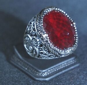 925-Sterling-Silver-Handmade-Authentic-Turkish-Ruby-Men-039-s-Ring-Size-10-12