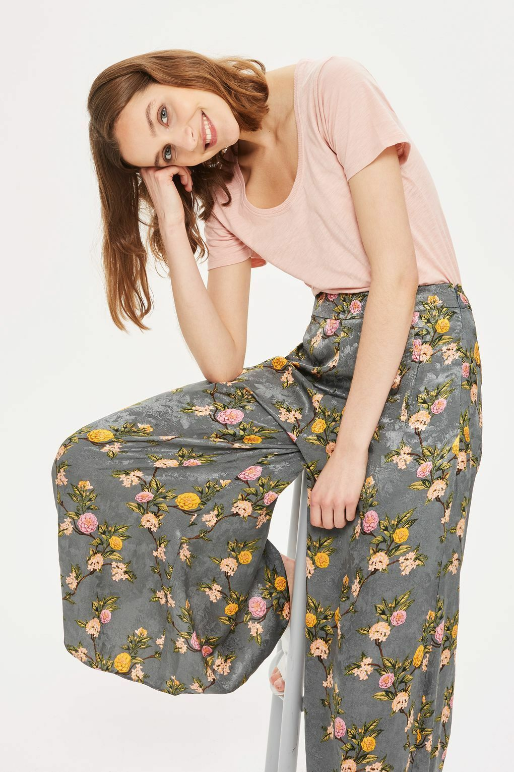 TOPSHOP Extra Wide Flowing Floral Palazzo Satin Jacquard Trousers