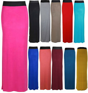 LONG PLAIN MAXI DRESS SKIRTS JERSEY STRETCH SKIRTS 8-14 | eBay