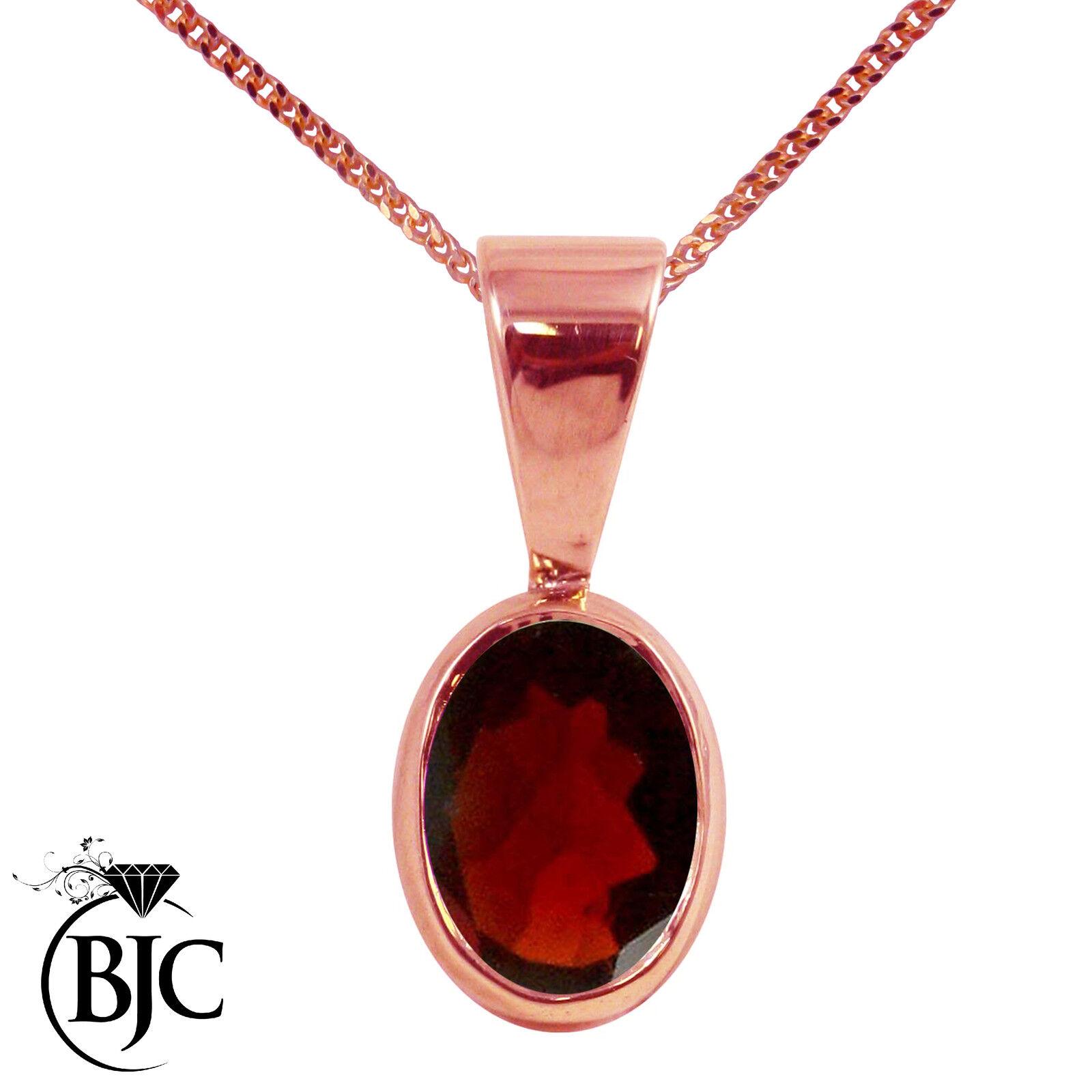 BJC 9ct pink ROSSA gold naturale Granato SOLITARIO PENDENTE OVALE E COLLANA