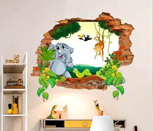 Adesivi murali bambini scimmietta elefante wall sticker for Adesivi murali 3d