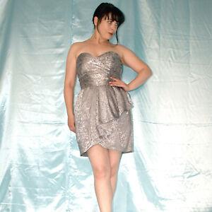 silber-metallic-COCKTAILKLEID-S-Minikleid-Maxikleid-Etuikleid-Abendkleid