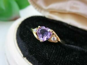 3Ct-Heart-Cut-Amethyst-amp-Diamond-Women-039-s-Wedding-Gifts-Ring-14k-Yellow-Gold-Over