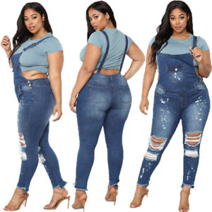 e511cc31f7ed PLUS SIZE Women s Skinny Ripped Denim BIB Jeans Trouser Romper ...