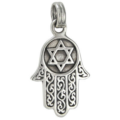 925 Sterling Silver Studded Star of David Protection Charm Jewish Hamsa Necklace