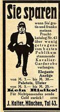 Wenig getragene KAVALIER-GARDROBE von J.Kalter Mnch.Historische Reklame von 1915