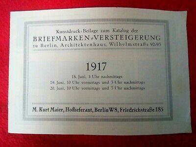 Kunstdruck Beilage Zum Katalog Der Briefmarken Versteigerung Zu Berlin... 1917 Unterscheidungskraft FüR Seine Traditionellen Eigenschaften