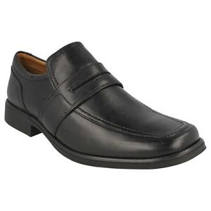 6d583f19 Details about CLARKS MENS BLACK LEATHER SLIP ON CASUAL FORMAL OFFICE SHOES  HUCKLEY WORK