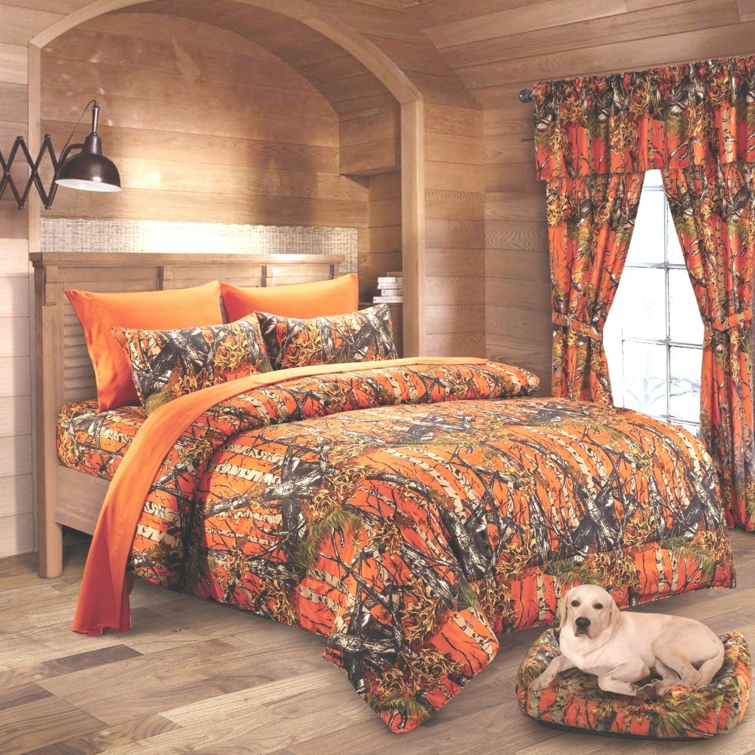 7 PC Orange CAMO KING SET    COMFORTER SHEETS WESTERN CAMOUFLAGE MICROFIBER