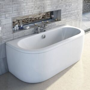 Details about Freestanding Back To Wall D Shape Bath 1700mm Modern Design  Acrylic Front Panel