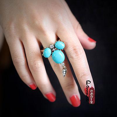 Bague Fleur Turquoise Pike Cristal Retro Ancien Vintage Style Original Cadeau Z1