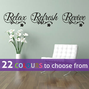 Relax Refresh Revive Quote Wall Sticker Art Decal Spa