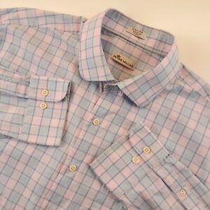 Peter Millar Mens Size XL Button Front Long Sleeve Plaid Dress Shirt Pink Blue