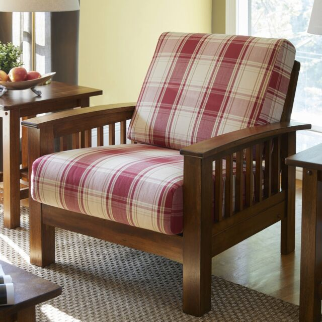 Cool Handy Living Omaha Red Plaid Mission Style Arm Chair With Exposed Wood Frame Gmtry Best Dining Table And Chair Ideas Images Gmtryco