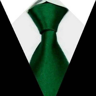 New Solid Mens Neck Tie 100% Silk Darkgreen Necktie S09