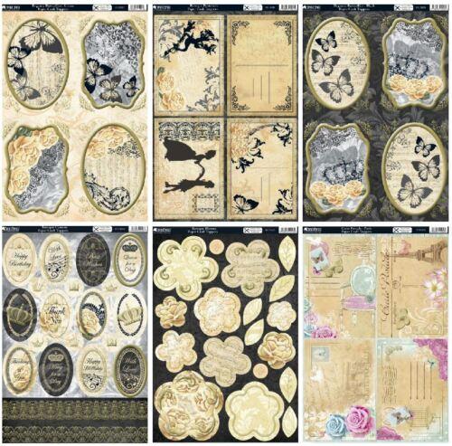 Kanban Kensington die cut card topper kit Baroque butterflies blooms postcards
