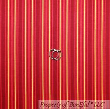 BonEful Fabric FQ Cotton Quilt Maroon Red Yellow Gold Stripe Xmas Valentine Girl