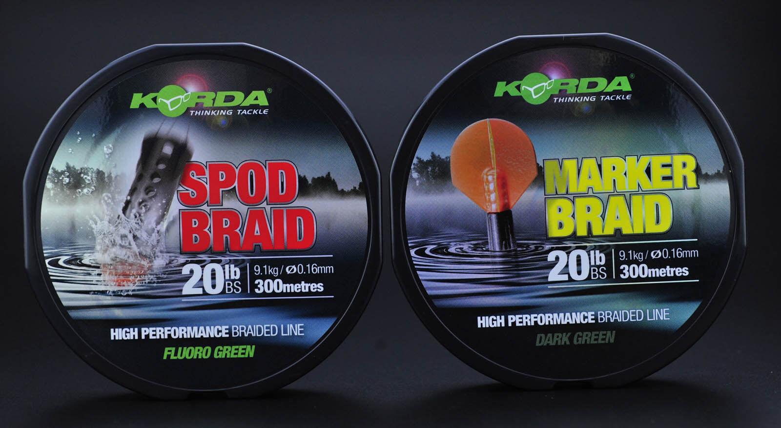 Korda Marker & Spod Braid Long Casting Braided Mainline 300m 20lb Fishing Line
