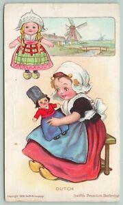 Swift-039-s-Premium-Butterine-Holland-Girl-With-Dutch-Boy-amp-Girl-Dolls-Windmill-1908