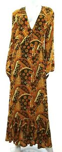 Nine-Lives-Bazaar-Women-039-s-8-Orange-Brown-Maxi-Dress-Floral-Paisley-Boho-NEW-NWT