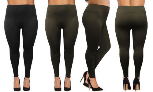Femme 2-PACK Grande Tailles Polaire Chaud Leggings Haute Extensible Épais