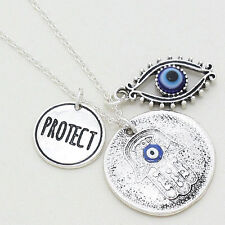 Evil Eye Necklace Hamsa Hand of God Protect Pendant SILVER BLUE Charm Jewelry