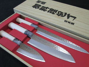 Japanese-Yaxell-SEKI-TOBEI-Kitchen-Knife-3-pair-sets-Sashimi-Santoku-Deba-3