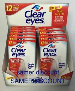 6 PACK OF CLEAR EYES  DROPS  REDNESS RELIEF 0.2 OZ.6 ML EXP(2020)UP TO 12 HOURS 300742541282