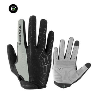 RockBros Cycling Long Full Finger Winter Warm Touch Screen Gloves-Cobweb Gray