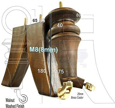 8mm 4x TURNED WOODEN CASTOR LEGS 165mm High CHAIR REPLACEMENT FURNITURE FEET M8