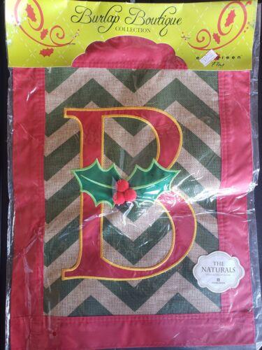 "Christmas Monogram ""B""-Garden Flag-Evergreen-Burlap Appliquéd-12.5""x18"""