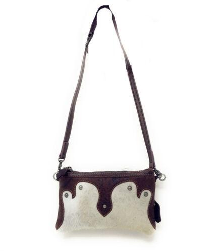 Western Womens Genuine Leather Cowhide Fur Basketweave Crossbody Bag