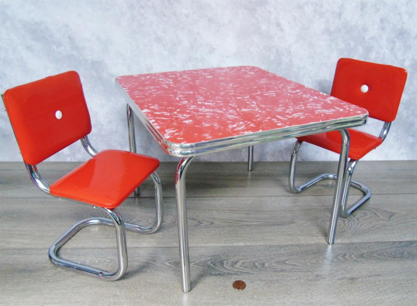 American Girl Doll Retro Chrom Tisch & Stühle Mollys Küche Set Rot Diner