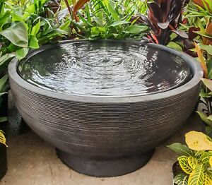 GRC-Outdoor-Garden-Patio-Water-Feature-Harvey-Round-Bowl-Fountain-Charcoal-Black